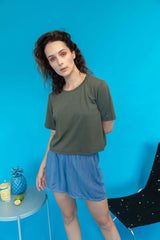 Ayla Top by MAS, Green, T-shirt, boxy fit, half-length sleeve, cropped fit, size XS to XL, made in Montreal