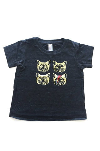 Stardust Kitty Baby Tee in Charcoal grey hand silkscreen in Ottawa