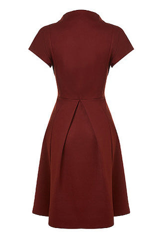 Ugoline Dress by Melow, Marsala, princess dress, v-neck pleated back view, Ponte Di Roma, sizes XS to XXL, made in Montreal