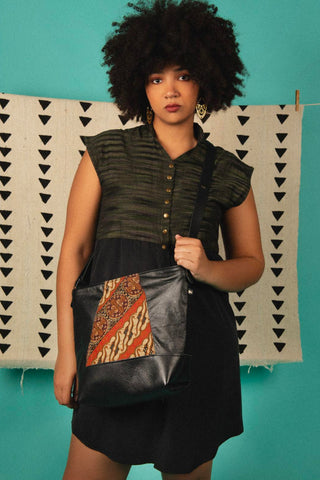 Shoulder bag Yupik  Bali Fabric Black leather