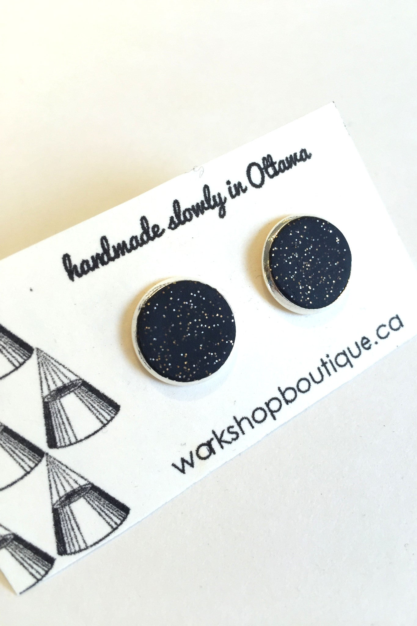 Handmade in Ottawa Workshop's own colour pop polymer clay earrings in glittery black