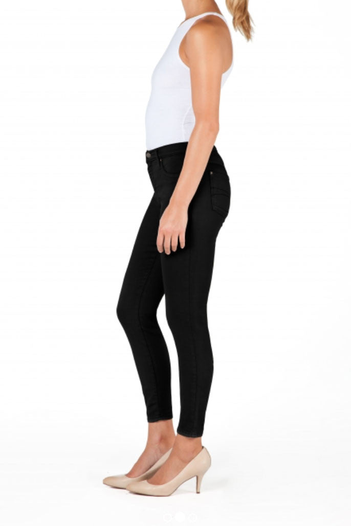 High Rise Cropped Ankle Yoga Jean - Black Light