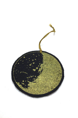 Workshop handmade silkscreen ornament sets, 3 black moons. made in Ottawa Canada