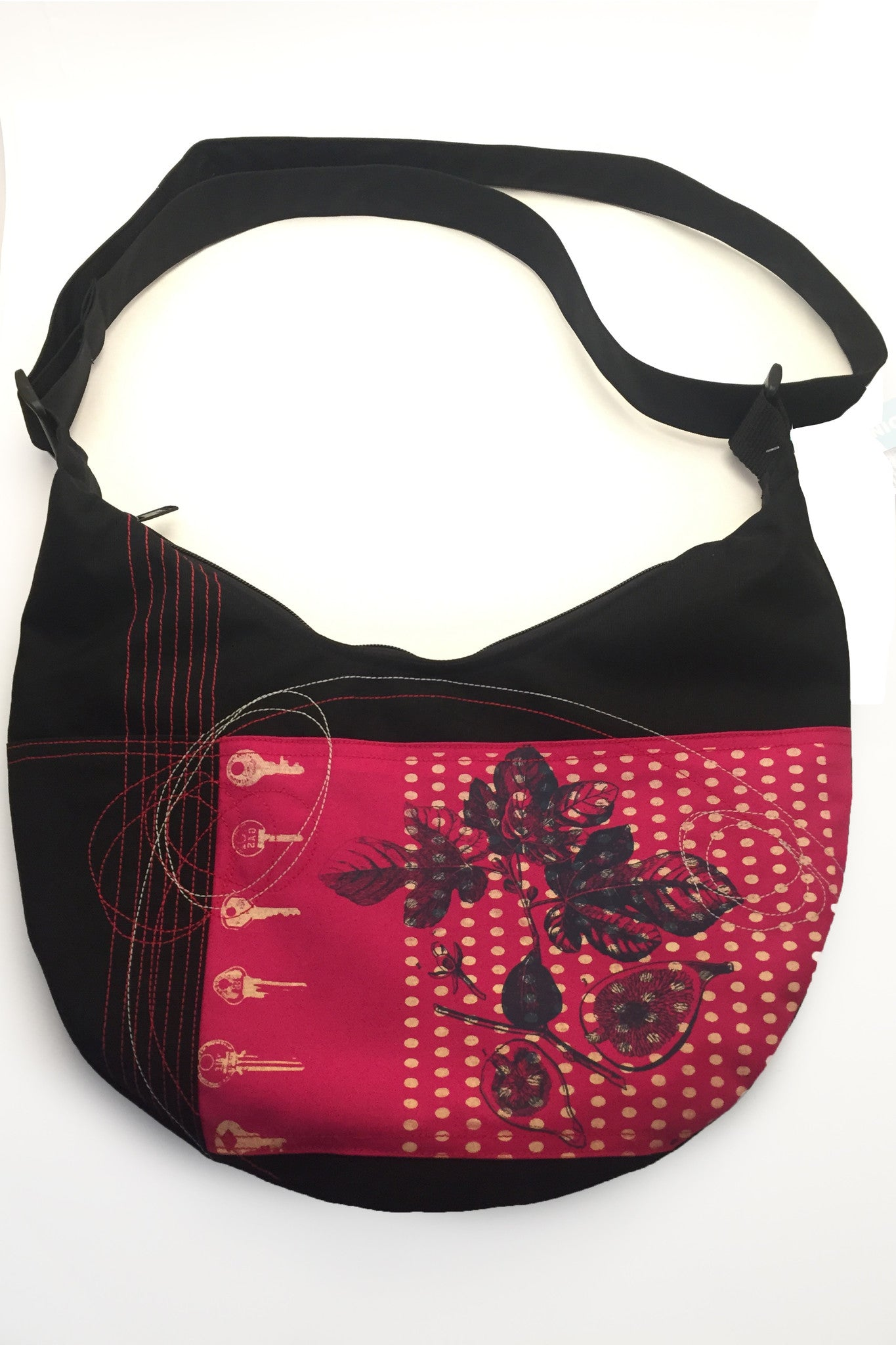 Waterproof one of a kind Cynthia Virgine Bag in Black and red. Handmade in Quebec