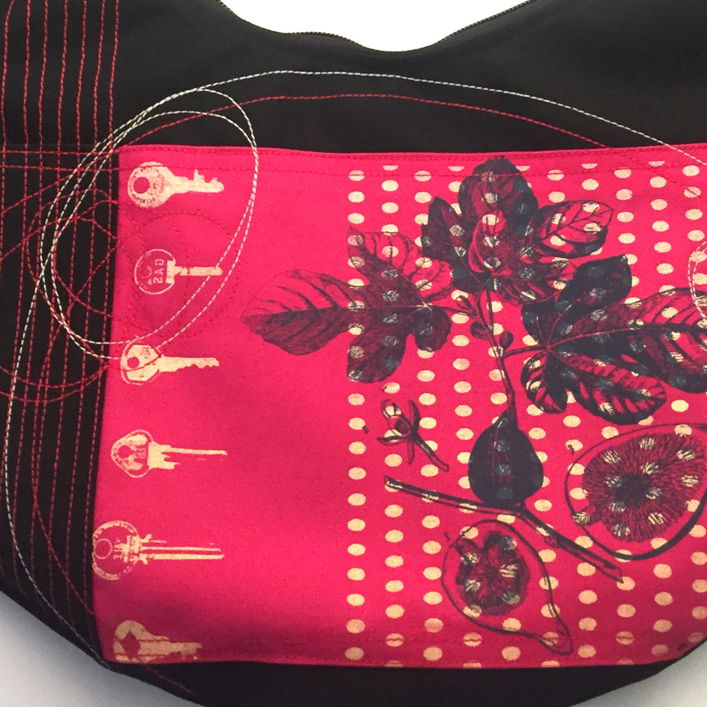 Waterproof one of a kind Cynthia DM Bag in Black and red. Handmade in Quebec