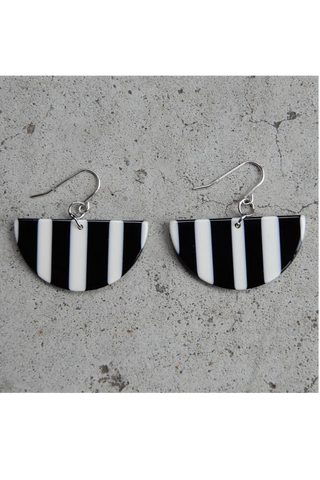Black and White Semi Circle Acetate Earrings