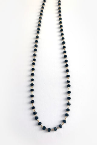 Faceted Black Glass Beads  and. Gold Choker necklace