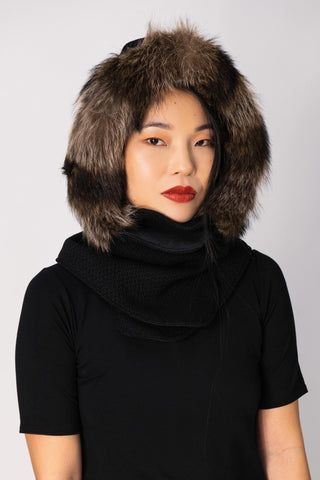 Woolen Hood with Recycled Fur