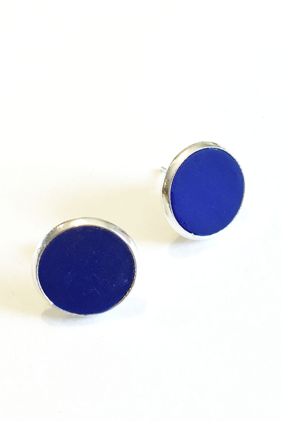Handmade in Ottawa Workshop's own colour pop polymer clay earrings in royal blue