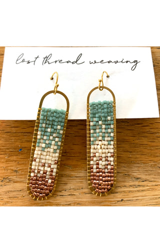 Freya Beaded Earrings - Blue Cream Copper Ombre