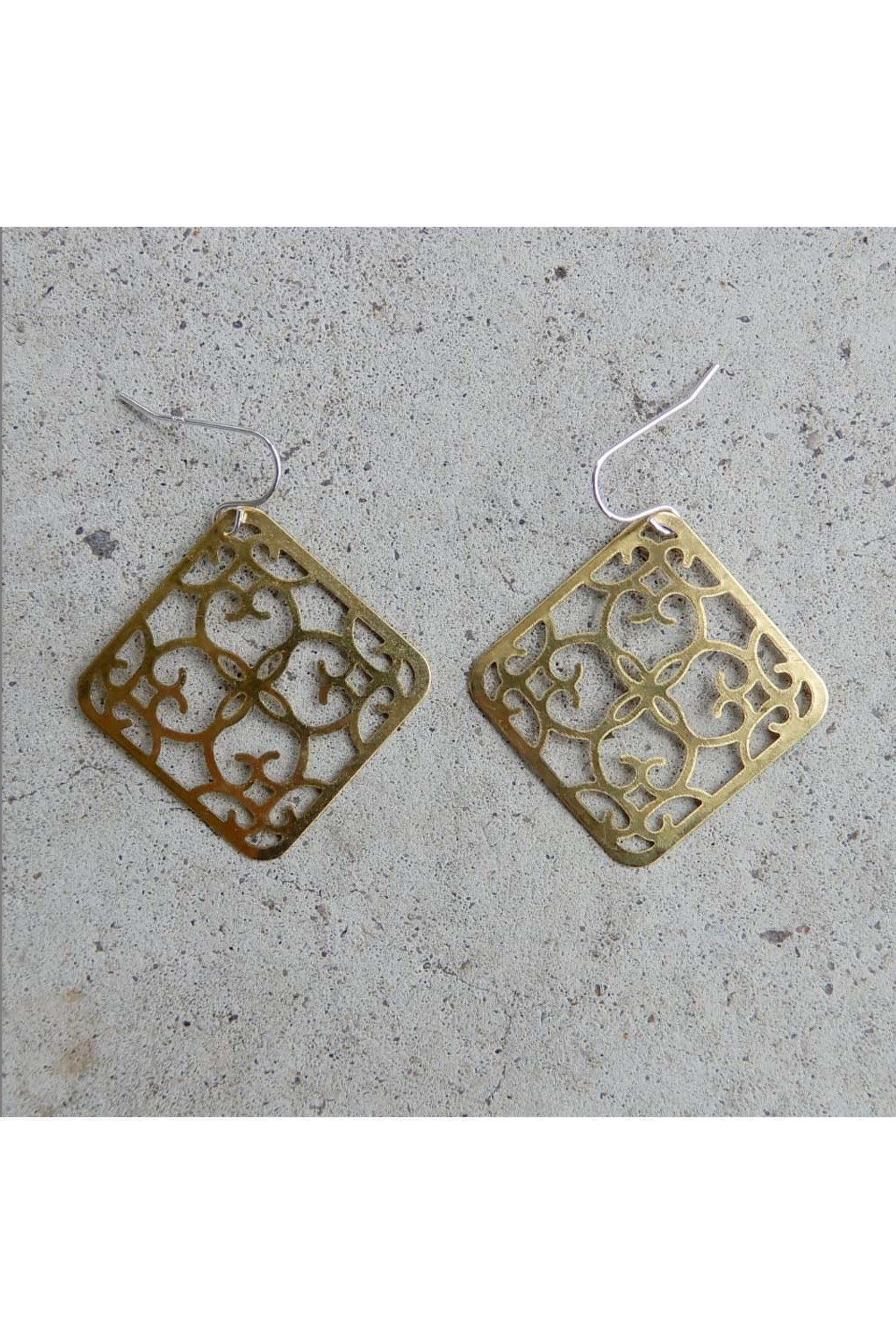 Lace Squares Brass Torched Studio Earrings