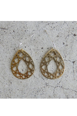 Crystalline Tear Drop Brass Earrings