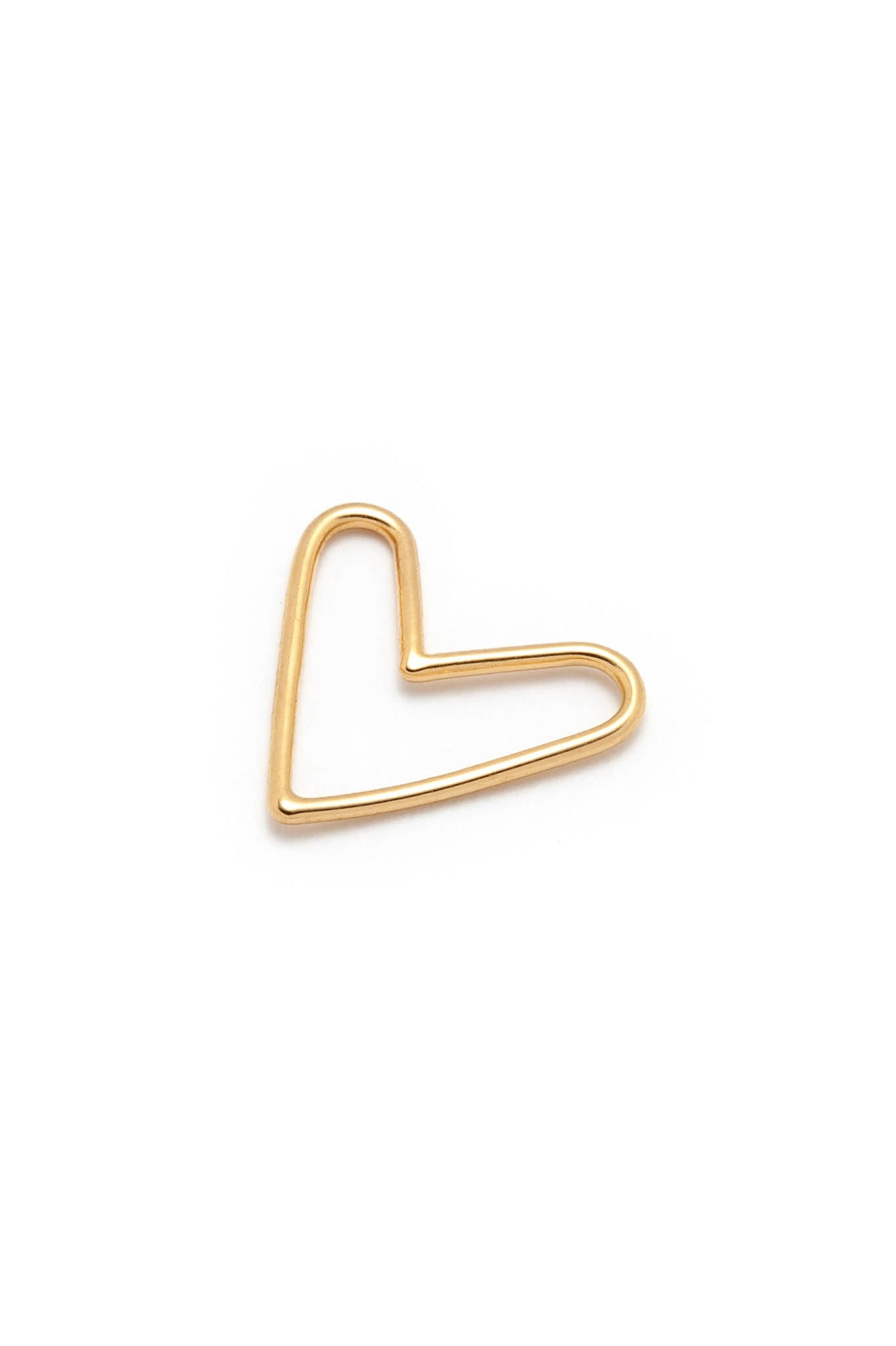 Big heart individual necklace charm by Lidia; 14k yellow gold plated silver