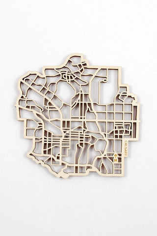 "The National Design Collective Calgary ""I Kinda Like it Here"" Wood Coaster. Made in Canada"