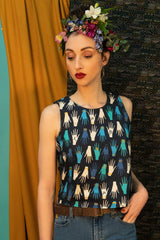 Castello Top by Kazak, Fatima, hands pattern, organic cotton, sleeveless crop top, sizes XS to L, made in Montreal