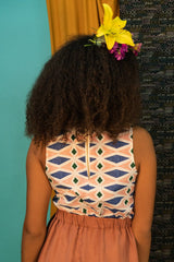 Castello Top by Kazak, Waza, diamonds pattern, back view, organic cotton, sleeveless crop top, sizes XS to L, made in Montreal