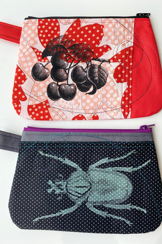 Cynthia DM waterproof pouch-Cherries and Beetle