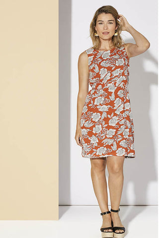 Cherry Bobin spring summer 2020 Magnolia dress orange floral front view available in XS to XXL made in canada