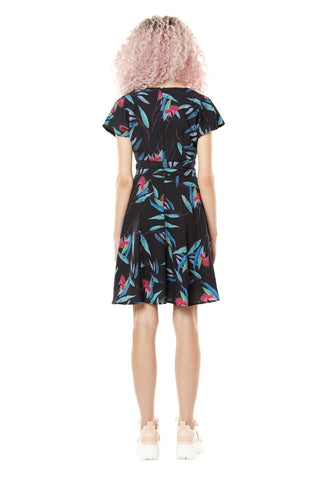 Cherry Blossom Annie 50 dress Spring Summer 2020 in black leaves bacl view. made in montreal size xs to l