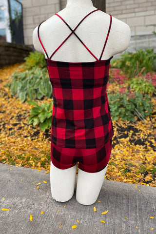MOOVMENT Cindy Camisole in Red and Black Buffalo Plaid FW2020/2021 (rear view)