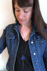 Cobalt Diamond Dangle Necklace