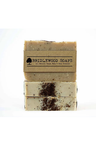 BRIDLEWOOD SOAPS Coffee Scrub Soap Bar (stacked)