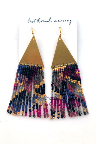 Triangle Top Fringe Earrings - Purple and Pink -MADE TO ORDER