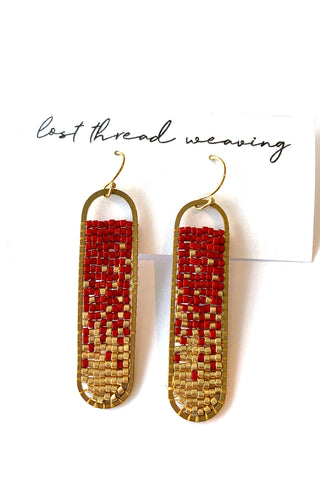 Freya Beaded Earrings - Deep Red Gold - MADE TO ORDER