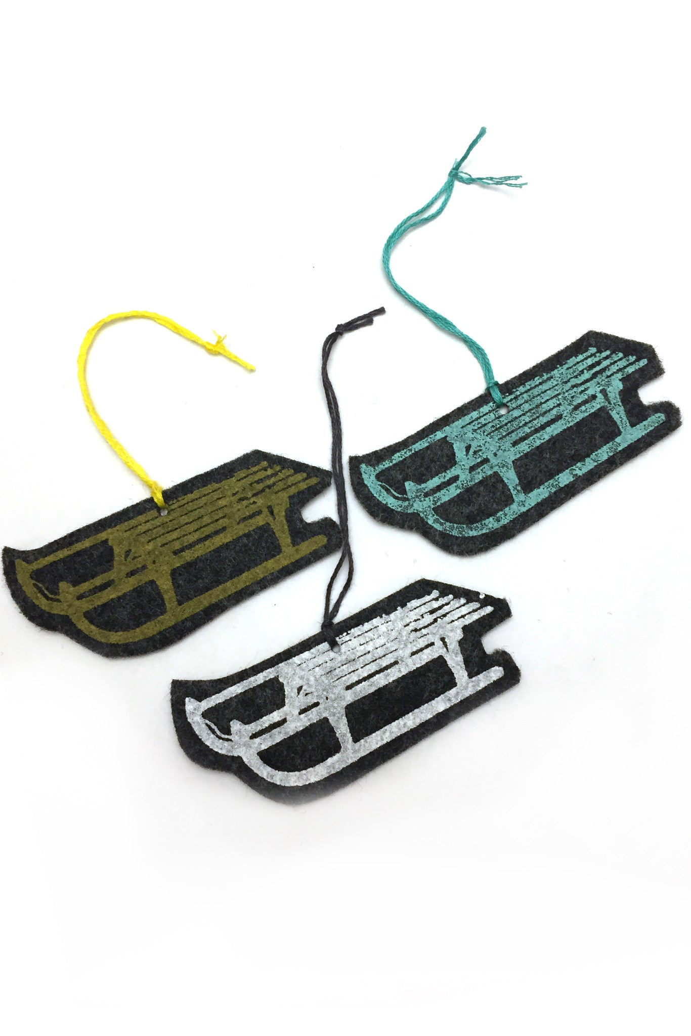 Workshop handmade silkscreen ornament sets, 3 sleds. made in Ottawa Canada