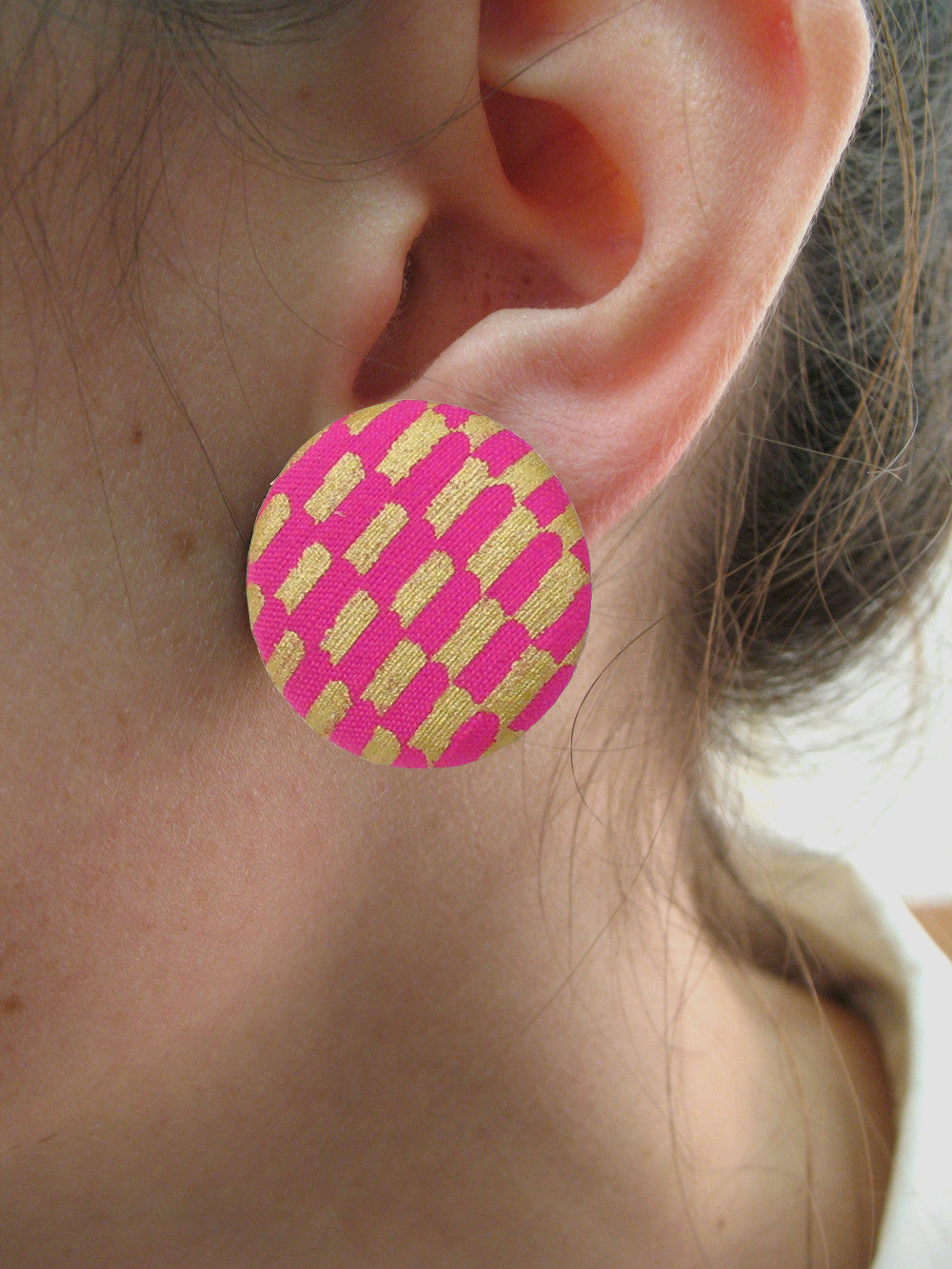 Patterned Fabric Button Earrings