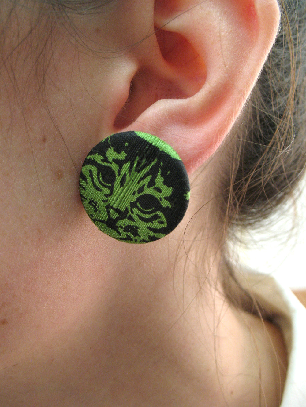 Greyhound Fabric Button Earrings