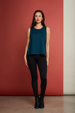 Echo cami in turquoise by Cherry Bobin; rounded neckline, sleeveless; worn untucked; styled with black skinny jeans and black leather ankle boots