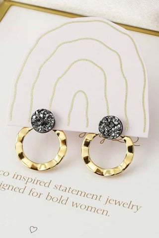 Emily wavy disc ear jacket earrings