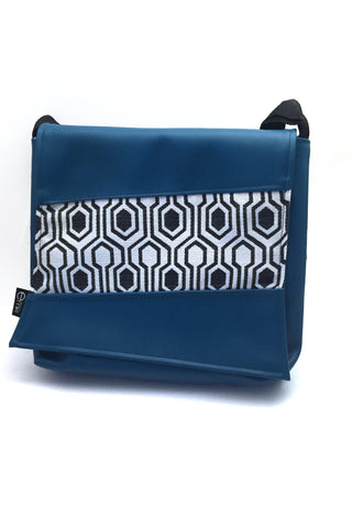 EMK Thora Bag in Teal  with fabric accent handmade in Winnipeg