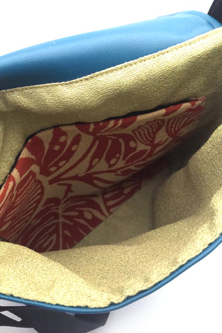 EMK Thora Bag in Teal  - interior view handmade in Winnipeg