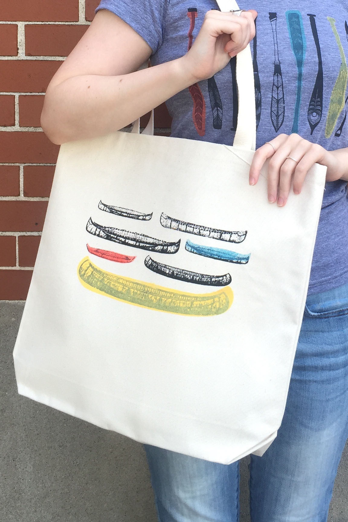 Hand silk-screened retro modern canoes tote from our Canadian Series handmade in Ottawa, Canada