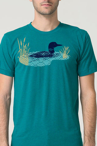 Workshop Studio, Loon and Lake hand silkscreened tee. Navy, aqua and metallic gold on an evergreen tee. Made in Ottawa, Canada