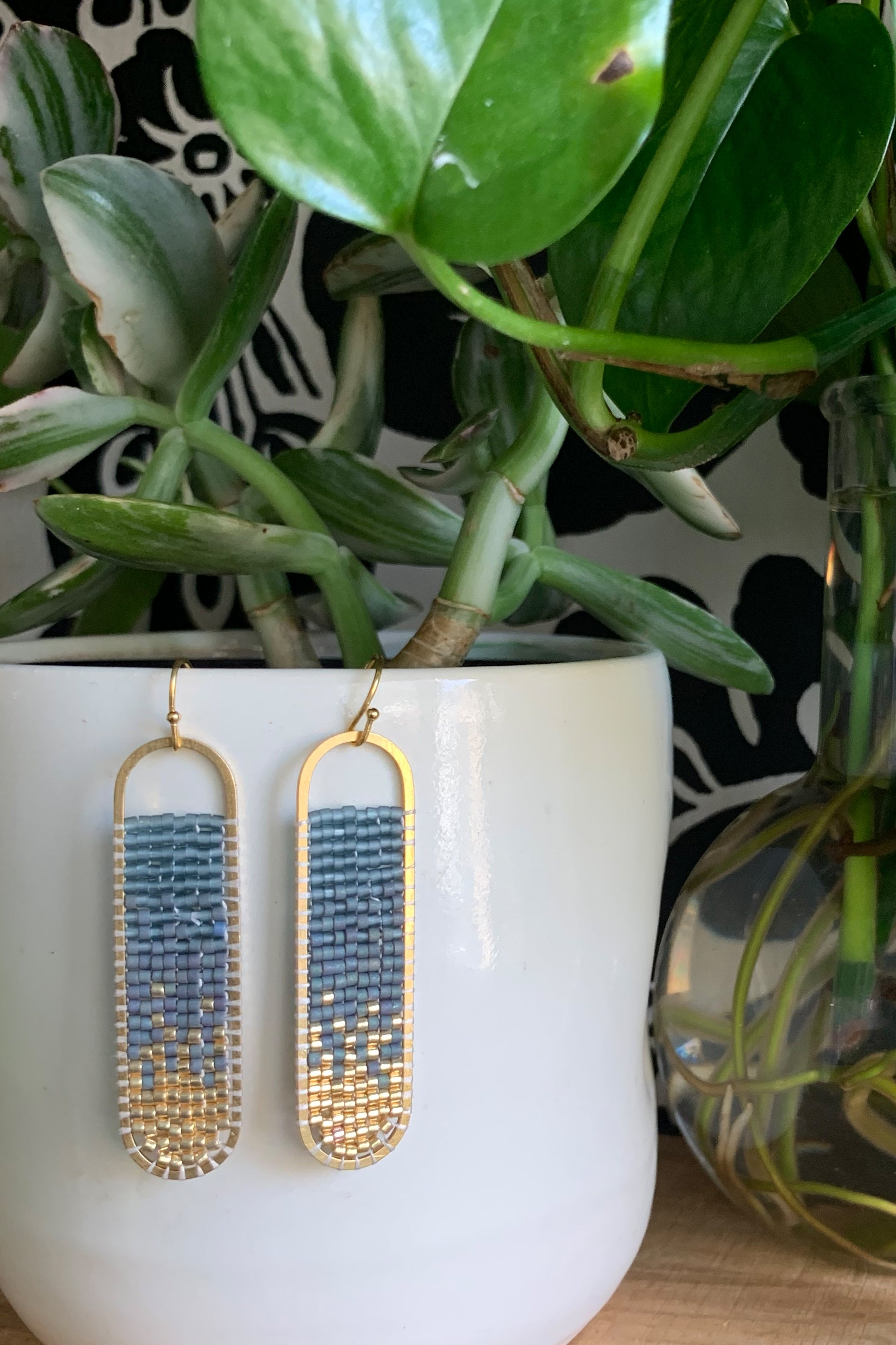 Freya -Ombre Hand Beaded Earrings - MADE TO ORDER