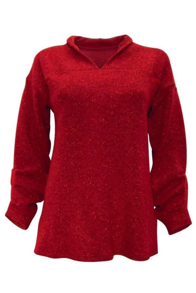 MOOVMENT Gail Sweater in Red FW2020/2021 (detail, front view)