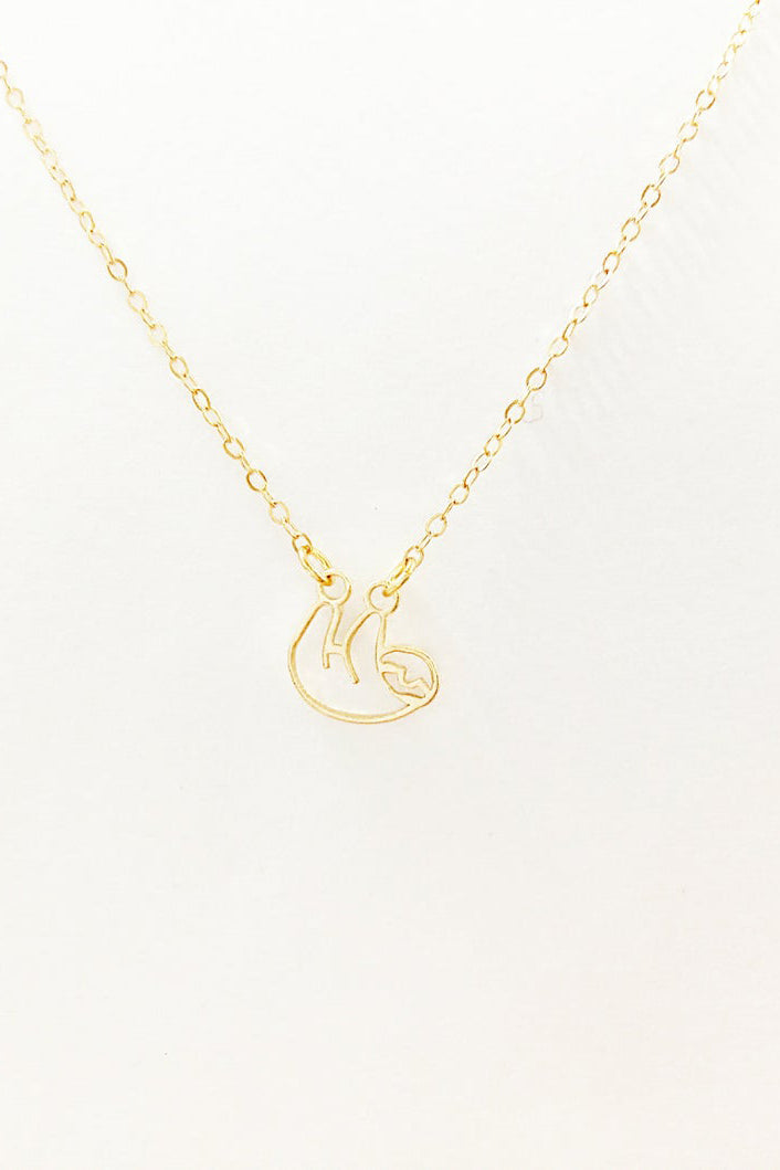 Outline  sloth Gold plated or Sterling Silver Necklace