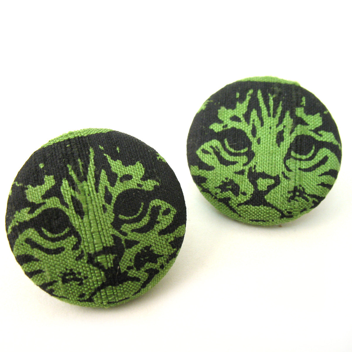 Kitty Fabric Button Earrings