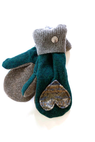 Upcycled sweater mittens with applique hearts