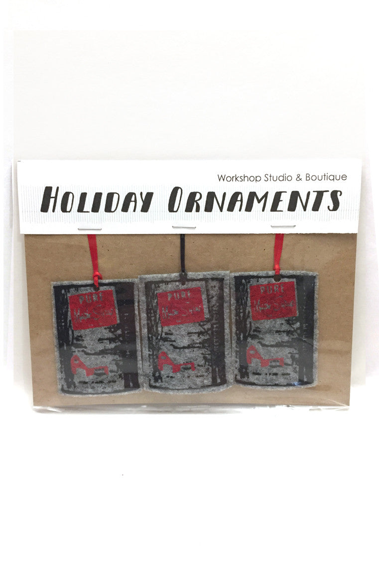 Grey Maple Syrup Cans Sirop D'érable handmade felt ornaments. Handmade in our Ottawa studio.