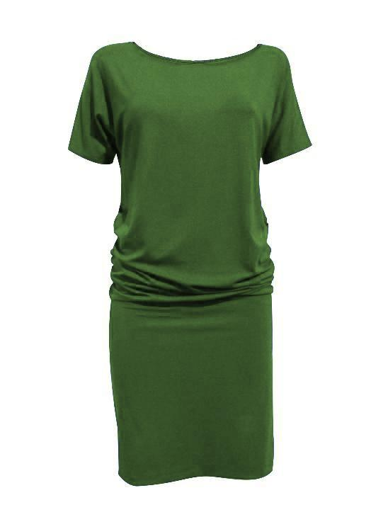 Helene Dress by Moovment, Avocado, short Dolman sleeves, boat neck, loose top, fitted bottom, bamboo viscose, sizes XS to XXL, made in Quebec