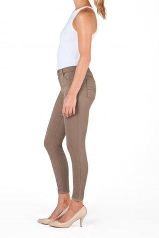 High Rise Cropped Ankle Yoga Jean - Taupe