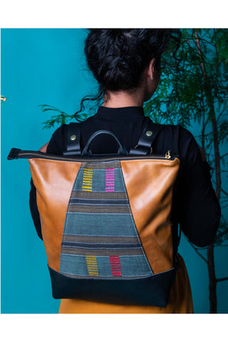 "African Woven"" recycled leather black and caramel / laptop bag"