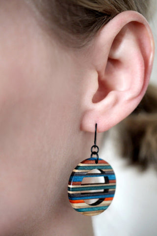 Horizon dangle earrings made from repurposed skateboards