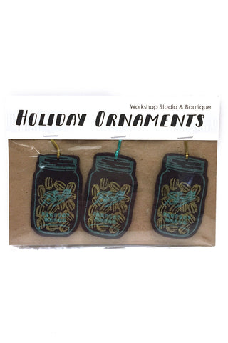 Workshop handmade silkscreen ornament sets, 3 humbug. made in Ottawa Canada