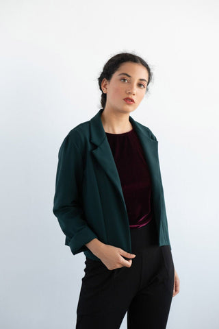 EVE LAVOIE Mapplethorpe Cropped Long Sleeve Jacket in Green FW2020/2021 (styled, front view)