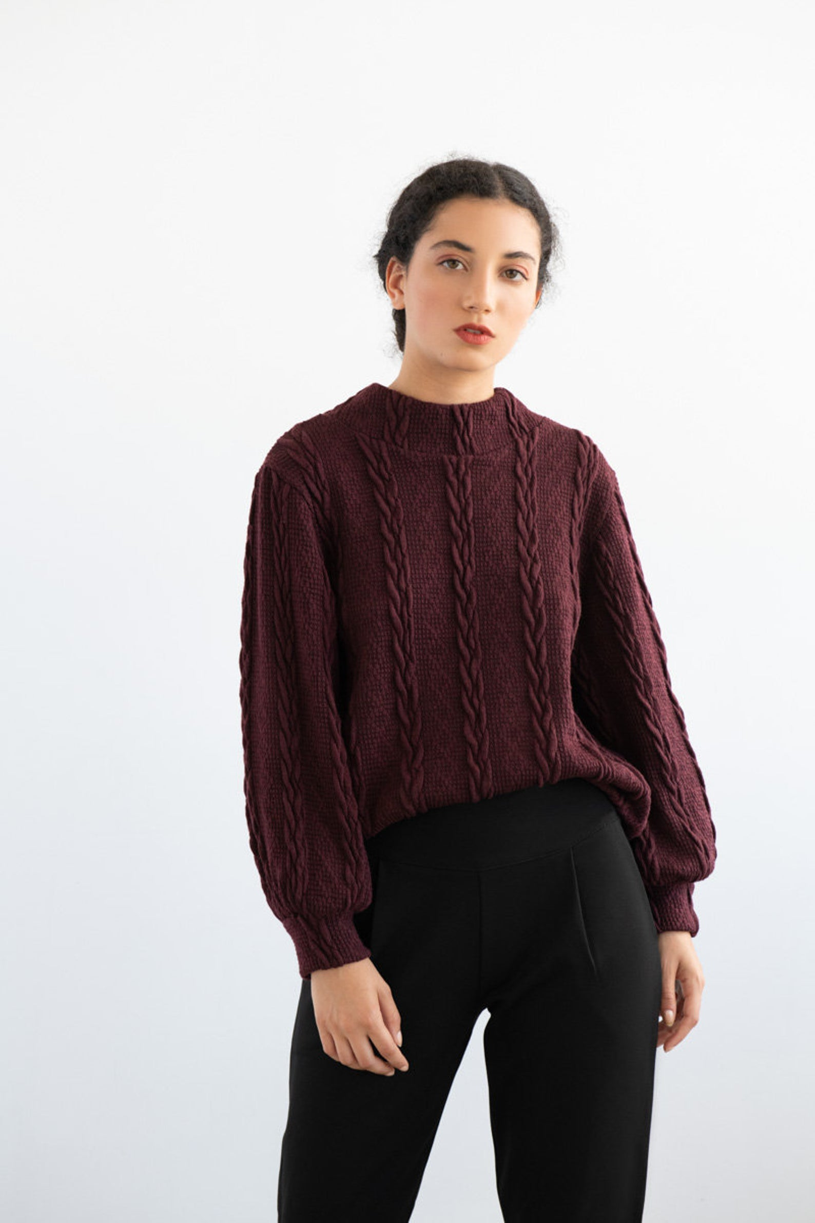 EVE LAVOIE Polaroid Reversible Sweater in Burgundy Braided Knit FW2020/2021 (full-length, front view)